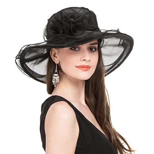 SAFERIN Women's Organza Church Kentucky Derby Hat Feather Veil Fascinator Bridal Tea Party Wedding Hat (SZ-Black)]()