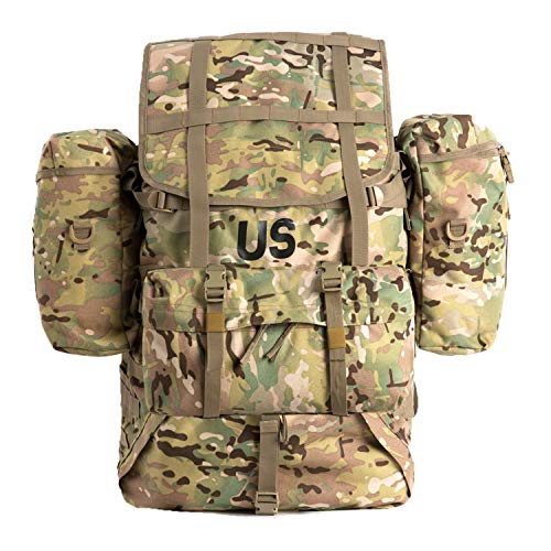 Akmax.cn US Multicam Military Molle II Rucksack Knapsack Backpack Assembly Large,Bug Out Bag Bergen with Frame Shoulder Straps and Side Pouches for Camping Hunting - Surplus Army Rucksack