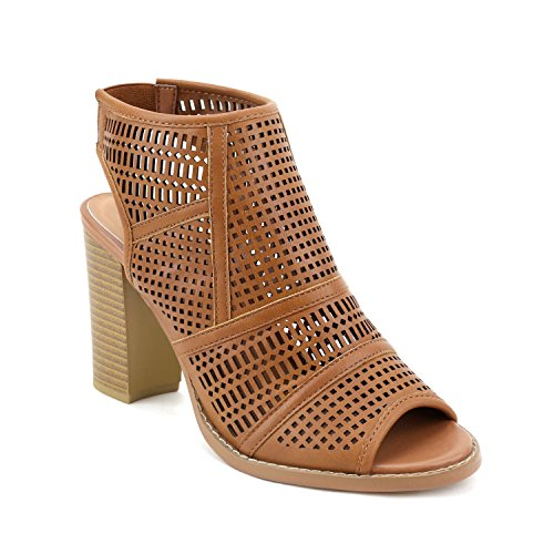 Olivia Miller Williamsburg' Perforated Peep Toe Chunky Heel Elastic Back Booties OMH 8422 Oe Cognac - Outlet Williamsburg