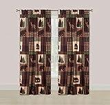 HowPlumb Rustic Cabin Window Curtains Panel Pair Drapes Lodge Deer Bear 84''