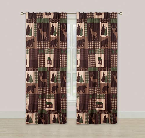 HowPlumb Rustic Cabin Window Curtains Panel Pair Drapes Lodge Deer Bear - Fishing Decor Lodge
