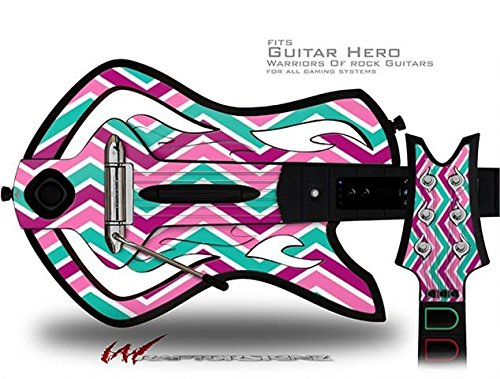 Zig Zag Teal Pink Purple Decal Style Skin - fits Warriors Of Rock Guitar Hero Guitar (GUITAR NOT INCLUDED)