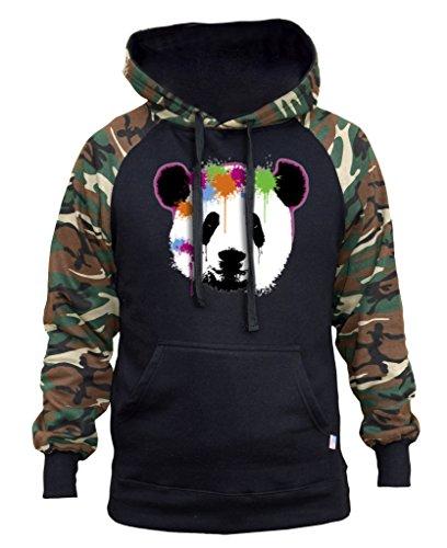 Men's Panda Dripping Paintball Black/Camo Raglan Baseball Hoodie Large Black