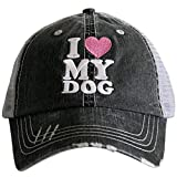 I Love My Dog Women's Distressed Grey Trucker Hat (Pink Heart)