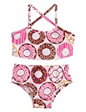 Swimsuit Red Rainbow Unicorn White Cloud, Children Girls Strap Halter Flower Print Swimwear Bathing Bikini Set Niece Gift Size 6 7 yers (Doughnut,S)