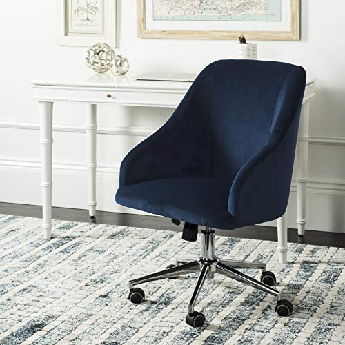 Safavieh OCH4501B Home Collection Adrienne Swivel Office Desk Chair, Navy/Chrome, Navy/Chrome