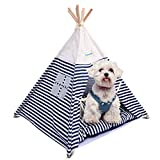Pet Tent Bed, isYoung Pet House Tent for Cats and Little Dogs Washable Navy Stripe Style with Breathable Mesh Window – Come with a Mat, Can Be Used for 4 Season. Review