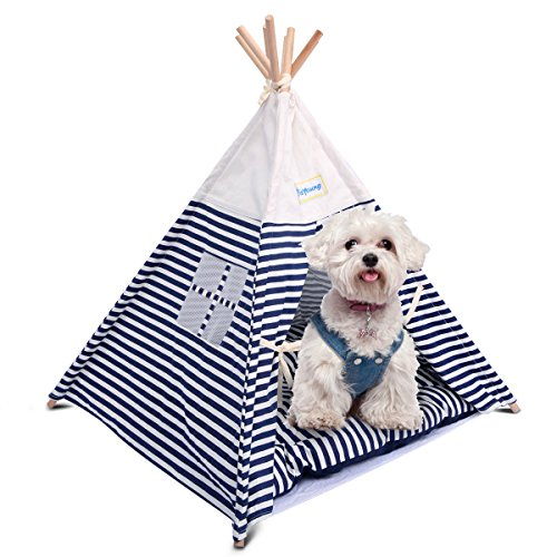 isYoung Pet Tent Bed, Pet Teepee House for Cats and Little Dogs Washable Navy Stripe Style with Breathable Mesh Window - Come with a Mat, Can Be Used All Year