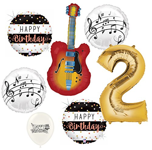 (Electric Guitar Balloons Musical Instrument 2nd Birthday Party Decorations Supplies Bundle)