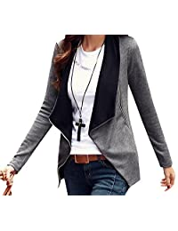 CFD Womens Casual Zipper Patched Long Sleeve Small Blazer