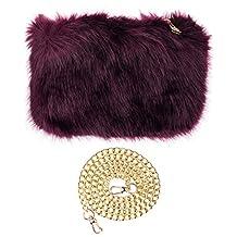 C.C Women's Evening Faux Fur Fuzzy Crossbody Shoulder Bag Clutch Purse