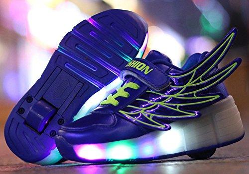 ECOTISH Mädchen Jungen Skateboard Schuhe Flügel-Art Rollen Verstellbare Schlittschuhe Neutral Rollschuh Schuhe Sneaker LED Leuchtet Sohle Leuchtend Sport Turnschuhe
