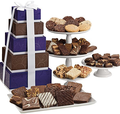 Fairytale Brownies 5-Box Majestic Gourmet Food Gift Basket Chocolate Tower - Assorted Size Brownies Plus Blondie Bars and Cookies - 62 Pieces