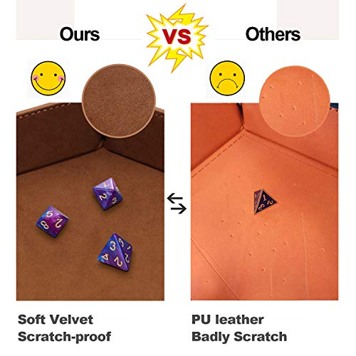 K.T. Fancy Dice Tray 4 Pieces Dice Tray Folding D&D Dice Mat Dice Holder Storage Box for Rolling Dice Games Metal Dice Rolling Tray PU Leather and Velvet