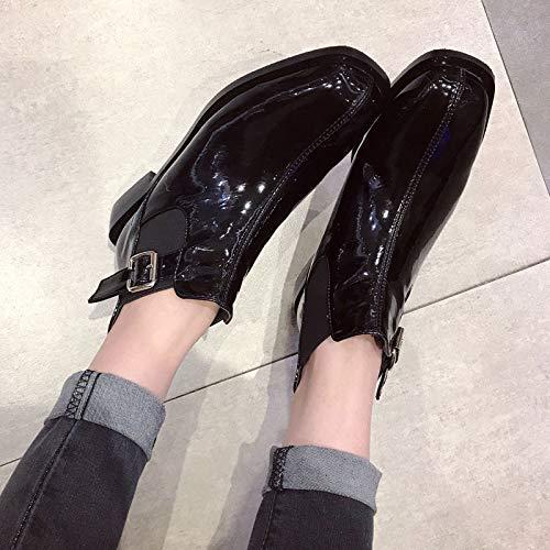 Martin Cm Black Moda calzado Cinturon De Tacon Moda Mujer Botas 3 Lbtsq Alto hebilla Cuadrado vHwYqa7C