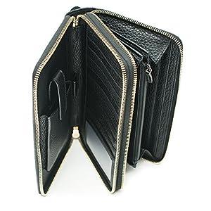 Gucci Black Travel Double zip Around Wallet Leather top Bag Handbag ... 6ccbcb8c6dc7c