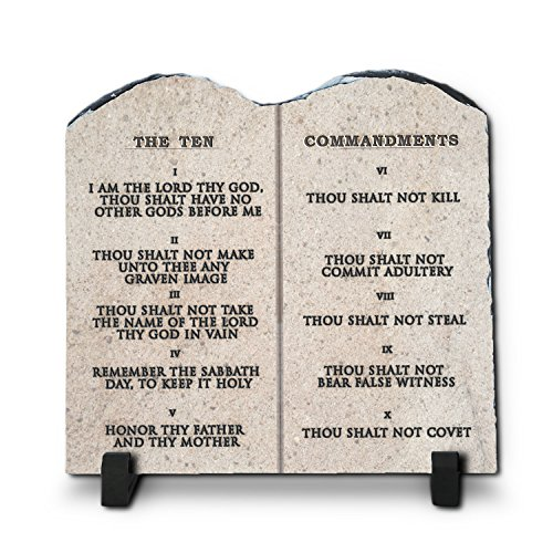 InspiraGifts The Ten Commandments Religious Inspirational Christian Home Plaque Stone Gift, 7.8-Inch-by-7.8-Inch, King James ()