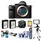 Sony a7RII Alpha Full Frame Mirrorless Digital Camera Body - Bundle w/Camera Bag, 64GB SDHC Card, 2x Spare Battery, Cleaning Kit, Micro HDMI Cable, Software Pack, Remote Shutter, Video Light, Tripod