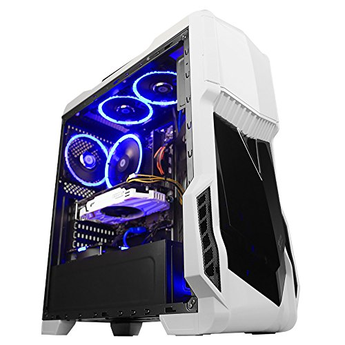 GETWORTH Gaming Computer Desktop PC (Intel I5 7500 3.4GHz, GTX 1050Ti 4GB, 8G DDR4 2400 RAM, Gigabyte B250M-WIND, Intel 600P 128G M.2 SSD, 2TB HDD, Genuine Win 10 Home ), Tower Case, White