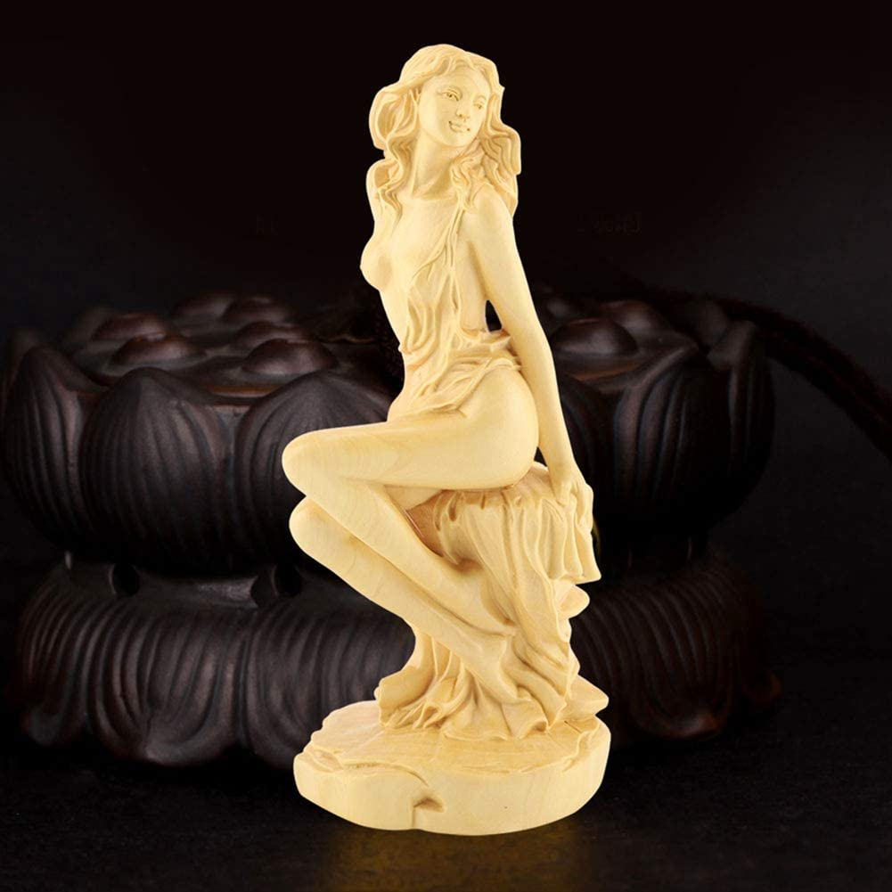 Goddess Carving Statue Handmade Art Craft Collectible Figurines Hand Carved Myth Statue Amulet Wooden Garden Decors for Home Bedroom