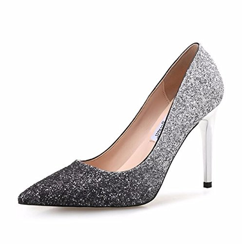 KHSKX-Silver Tip 9.5Cm High-Heeled Shoes Autumn And Winter Bridal Wedding Shoes Fine Tip With The Gradient 40 XtgtI