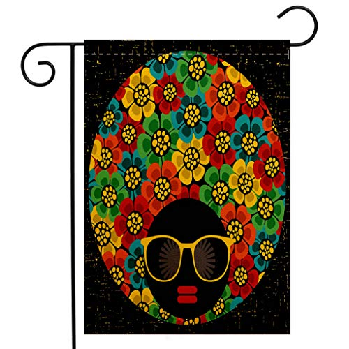 Custom Double Sided Seasonal Garden Flag 70s Party Decorations Abstract Woman Portrait Hair Style with Flowers Sunglasses Lips Graphic Decorative Welcome House Flag for Patio Lawn Outdoor Home -