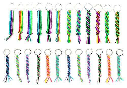 Frogsac Key Chains for Women, Men, Boys, Girls, Kids | 24 Piece Set | Handmade Braid | Gimp Cord | Assorted Vibrant Colors | Camp Accessories Party Favors USA Prime Seller]()