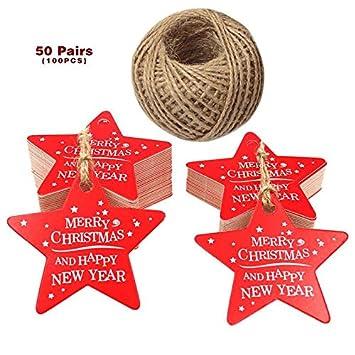 """100 Stück 5.3 cm Weihnachten Geschenkanhänger Etikett Hängen Karten""""Merry Christmas and Happy New Year"""" Papieranhänger mit Jute-Schnur 30 Meter(Rot) JIJA"""
