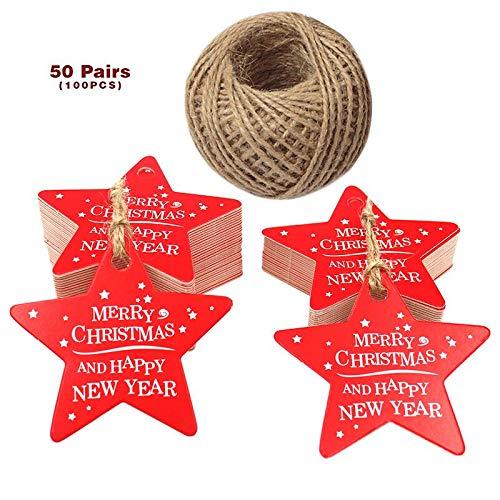 Tag regalo natalizio, tag stella rossa natalizia, 6 cm Buon Natale e Felice Anno Nuovo Appendere tag con 100 metri di cordino di iuta naturale JIJA