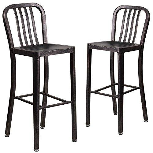 (Flash Furniture 2 Pk. 30'' High Black-Antique Gold Metal Indoor-Outdoor Barstool with Vertical Slat Back)
