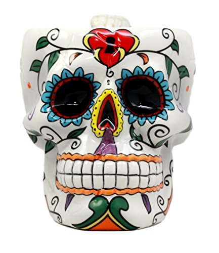 Atlantic Collectibles White Day of The Dead Love Locked Sugar Skull Mug In Bright Vivid Colors Drink Coffee Cup Ceramic 4.5