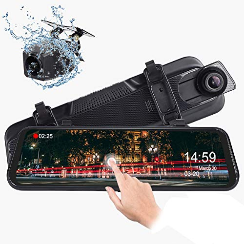 Mirror Dash Cam, Dual 1080P Front and Rear, 10 Inch Touch Screen Front 1080P 170° Full HD Front Camera, 140° Wide Angle 1080P Waterproof Rear View Camera, G-Sensor 24-Hour Parking Monitor ()