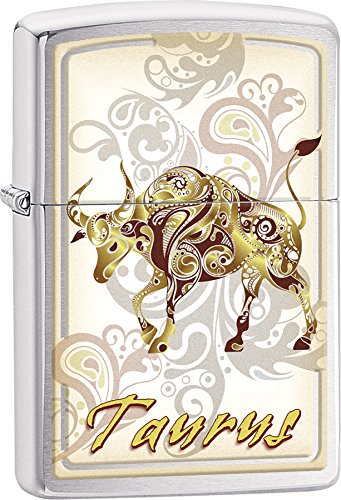 Zippo Personalized Customize Message Engraving on Backside Horoscope Zodiac Signs Lighter (Taurus)