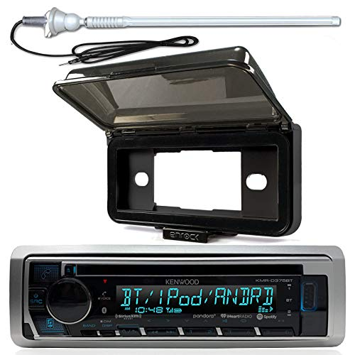 New Kenwood Marine Boat Yacht Outdoor In Dash Bluetooth MP3 USB AM/FM Radio Stereo Player With Splashproof Radio Cover, Marine Radio Antenna - Complete Marine Kit (CD - Kenwood Cd Player Indash