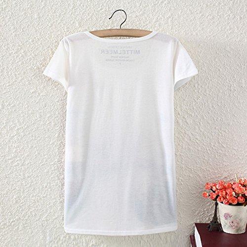 Casual Donne Il Supera 2 Camicia T Maglietta Yichun I Abbigliamento Ragazze Cami Libero Della Stampata Sottile Per Tunica Camicia Tempo Bianca aqxPwd