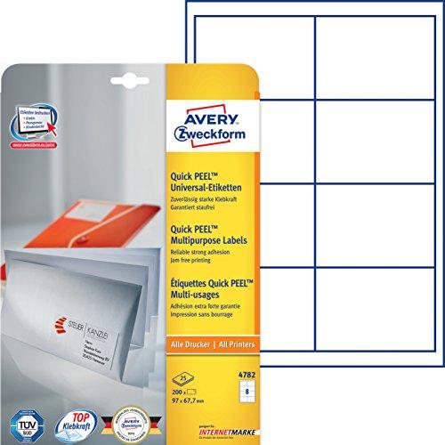 Avery Zweckform 4782 Universal-Etiketten (A4, Papier matt, 200 Etiketten, 97 x 67,7 mm) 25 Blatt weiß