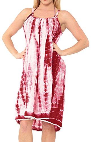 (LA LEELA Women's Summer Casual Loose Swing T-Shirt Beach Sundress Kaftan Cover Up Cotton Tie Dye Red_M431 )
