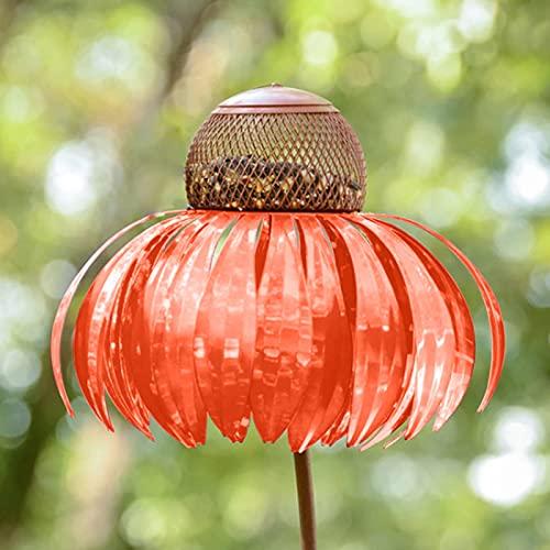 bestheart Bird Feeder for Outside, Sensation Orange Coneflower Bird Feeders for Garden Yard Decoration,Flower Bird Feeder,Pole Bird Feeder (Orange)