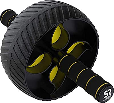 Sports Research Sweet Sweat Ab Wheel | Abdominal Exercise Wheel for Core Strength Training | with Knee Pad by Sports Research