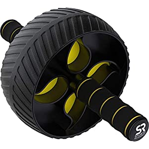 Sports Research Ab Wheel Roller with Knee Pad | Sturdy 3″ Wheel for Core Workouts in The Gym or at Home