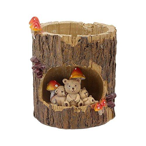 Tree Cave Flowerpot Succulent Plants Garden Pot Resin Indoor Outdoor Brown Bear Family Best Gift by zakka