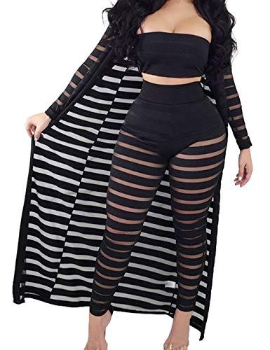 (XXXITICAT Women's Sexy Lace Transparent See Through Wide Leg Pants Tube Top Long Coat Sets Suits(BL3,XL))