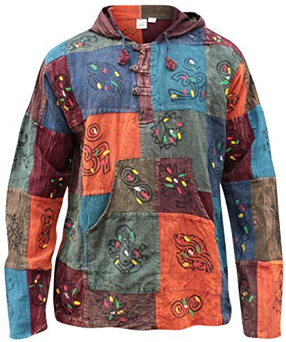 Shopoholic Mode Mit Kapuze Steinwäsche Patchwork Blockmuster Opa Hippie Hemd
