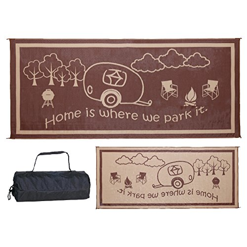 Camp Out Awning - Stylish Camping RH8187 Brown/Beige 8 Feet x18 Feet RV Home Mat