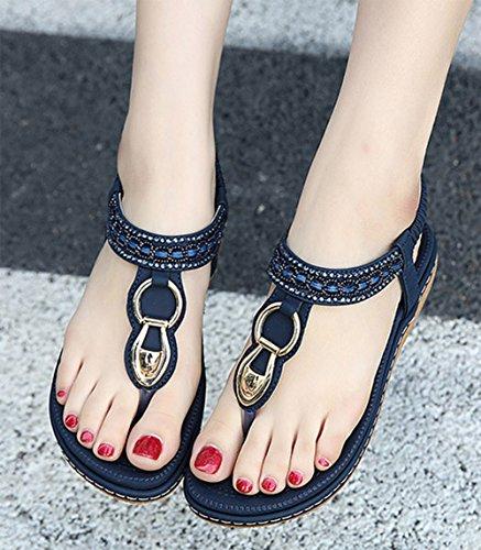 Women's Ankle Strap Sandals Summer Bohemian diamond flat sandals Clip Toe Flats Flip Flops Blue 1eKjBat