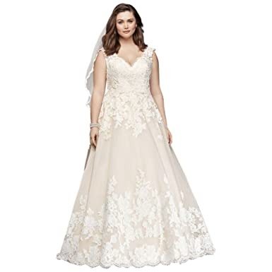 Davids Bridal Scalloped Lace Tulle Plus Size Wedding Dress Style