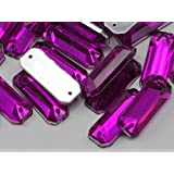 19x7mm Fuchsia CH21 Baguette Flat Back Sew On Beads for Crafts - 50 Pieces