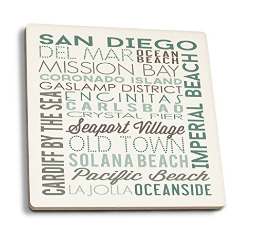 San Diego, California - Green Typography (Set of 4 Ceramic Coasters - Cork-backed, Absorbent) San Diego Coasters
