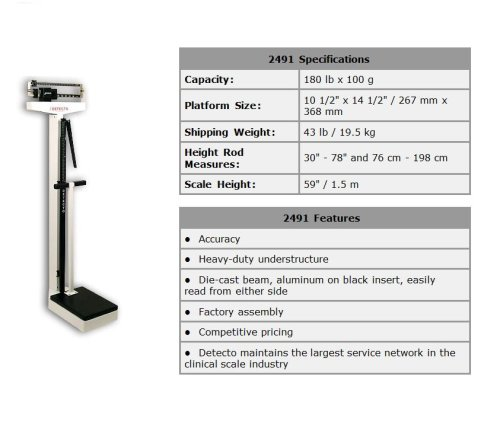 Detecto Mechanical Physician Scale, Eye Level with Handpost and Height Rod, 180kg., Model#2491, Made in the ()