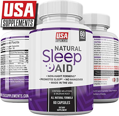 Natural Sleeping Aid Pills for Adults Extra Strength | Herbal Melatonin, Chamomile & Valerian Root Capsules | Adrenal Fatigue Support | Fast Stress, Anxiety & Insomnia Relief by USA Supplements (Best Sleeping Pills For Plane)